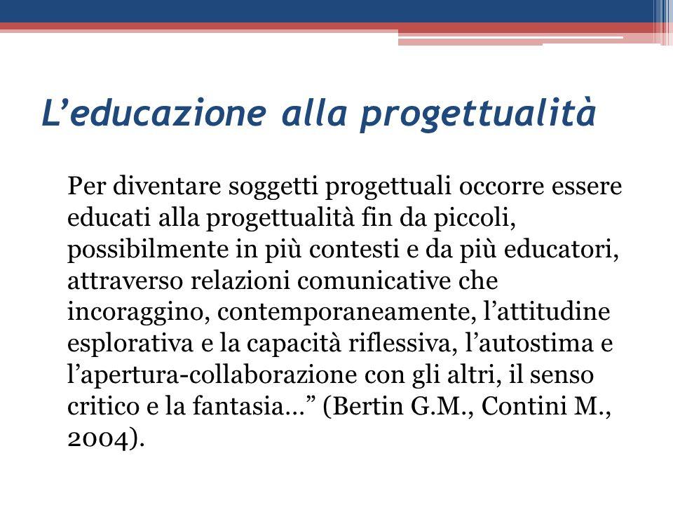 Leducazione alla progettualità Per diventare soggetti progettuali occorre essere educati alla progettualità fin da piccoli, possibilmente in più conte