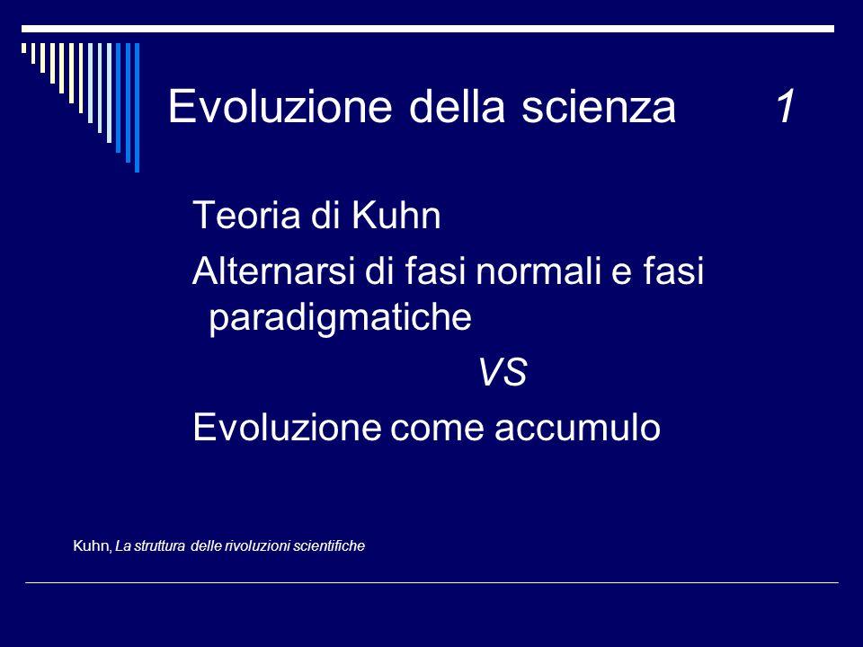 Evoluzione della scienza1 Teoria di Kuhn Alternarsi di fasi normali e fasi paradigmatiche VS Evoluzione come accumulo Kuhn, La struttura delle rivoluz