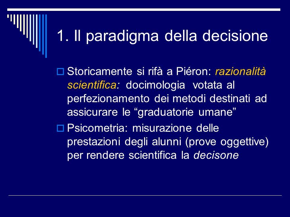1. Il paradigma della decisione Storicamente si rifà a Piéron: razionalità scientifica: docimologia votata al perfezionamento dei metodi destinati ad