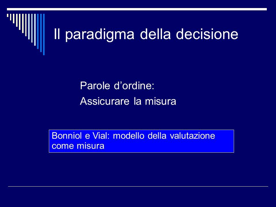 Il paradigma della decisione Parole dordine: Assicurare la misura Bonniol e Vial: modello della valutazione come misura