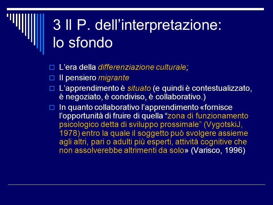 3 Il P. dellinterpretazione: lo sfondo Lera della differenziazione culturale; Il pensiero migrante Lapprendimento è situato (e quindi è contestualizza
