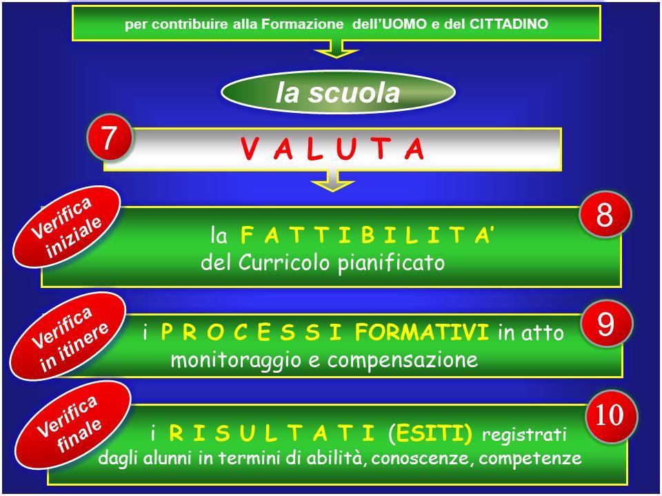 per contribuire alla Formazione dellUOMO e del CITTADINO la scuola la F A T T I B I L I T A del Curricolo pianificato V A L U T A Verifica iniziale 7