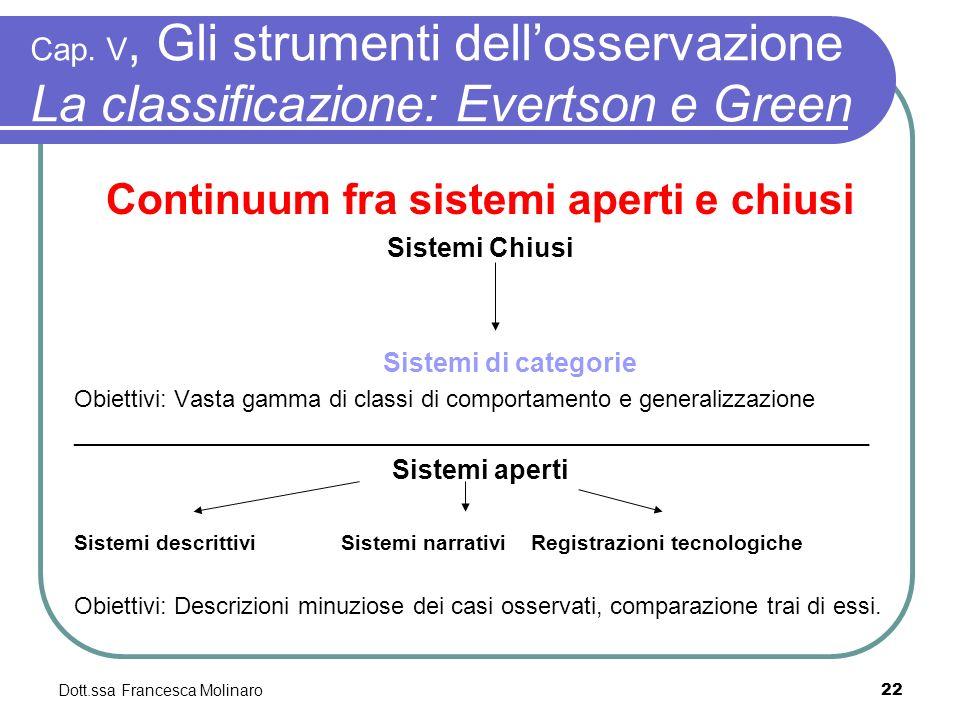 Dott.ssa Francesca Molinaro Cap. V, Gli strumenti dellosservazione La classificazione: Evertson e Green Continuum fra sistemi aperti e chiusi Sistemi