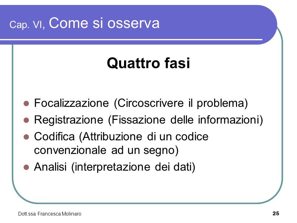 Dott.ssa Francesca Molinaro Cap. VI, Come si osserva Quattro fasi Focalizzazione (Circoscrivere il problema) Registrazione (Fissazione delle informazi
