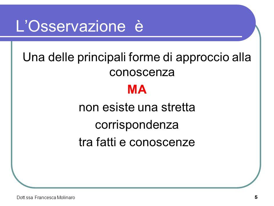 LOsservazione è Una delle principali forme di approccio alla conoscenza MA non esiste una stretta corrispondenza tra fatti e conoscenze Dott.ssa Franc
