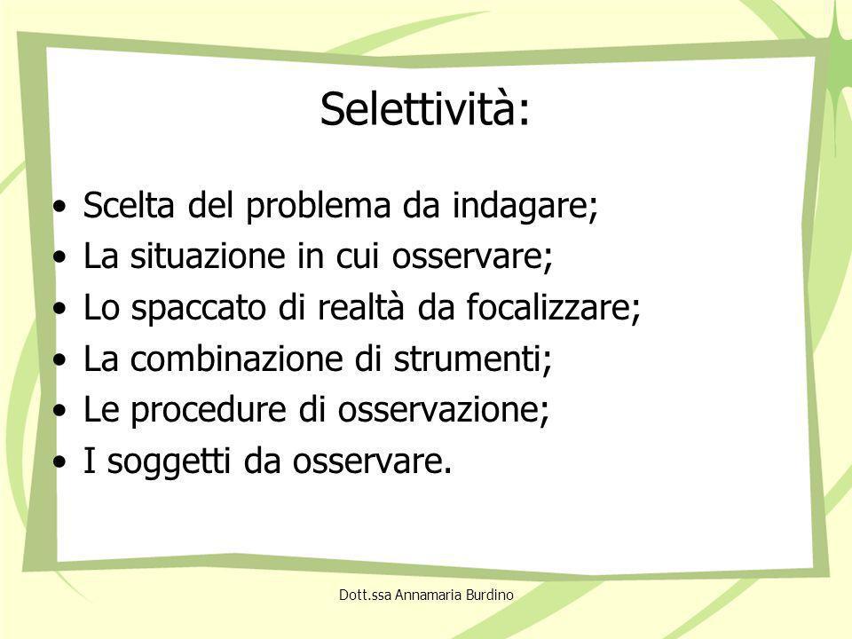 Selettività: Scelta del problema da indagare; La situazione in cui osservare; Lo spaccato di realtà da focalizzare; La combinazione di strumenti; Le procedure di osservazione; I soggetti da osservare.