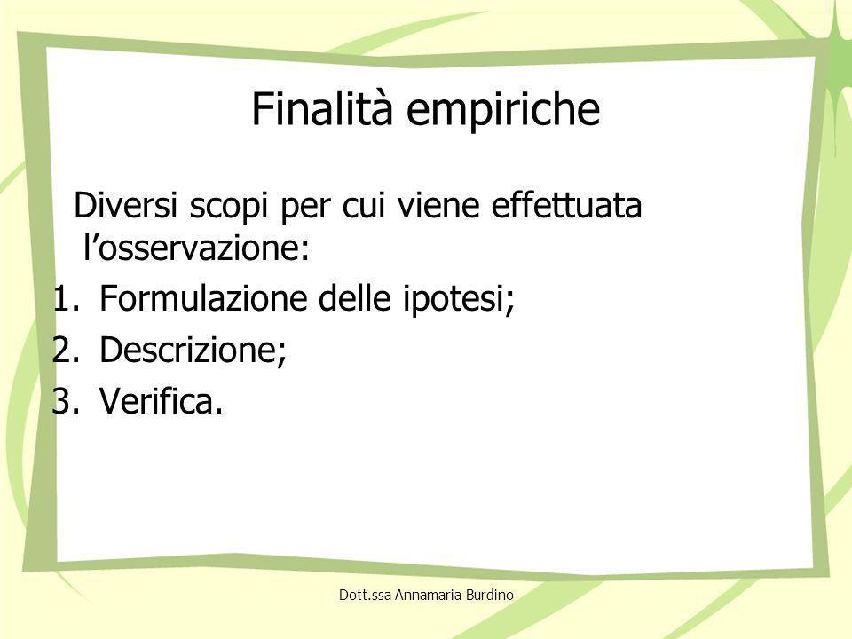 Finalità empiriche Diversi scopi per cui viene effettuata losservazione: 1.Formulazione delle ipotesi; 2.Descrizione; 3.Verifica.