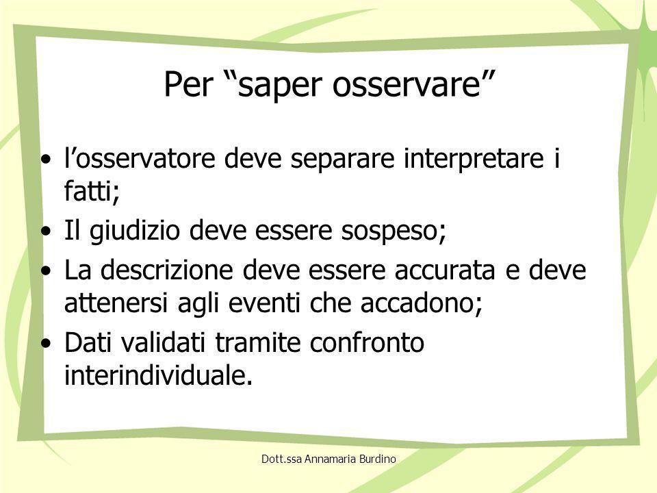 Caratteristiche dellosservazione sistematica Selettività; Intenzionalità; Progettualità; Propensione alloggettività.