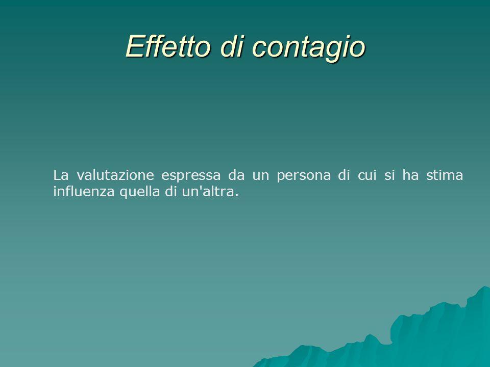 Effetto di contagio La valutazione espressa da un persona di cui si ha stima influenza quella di un'altra.