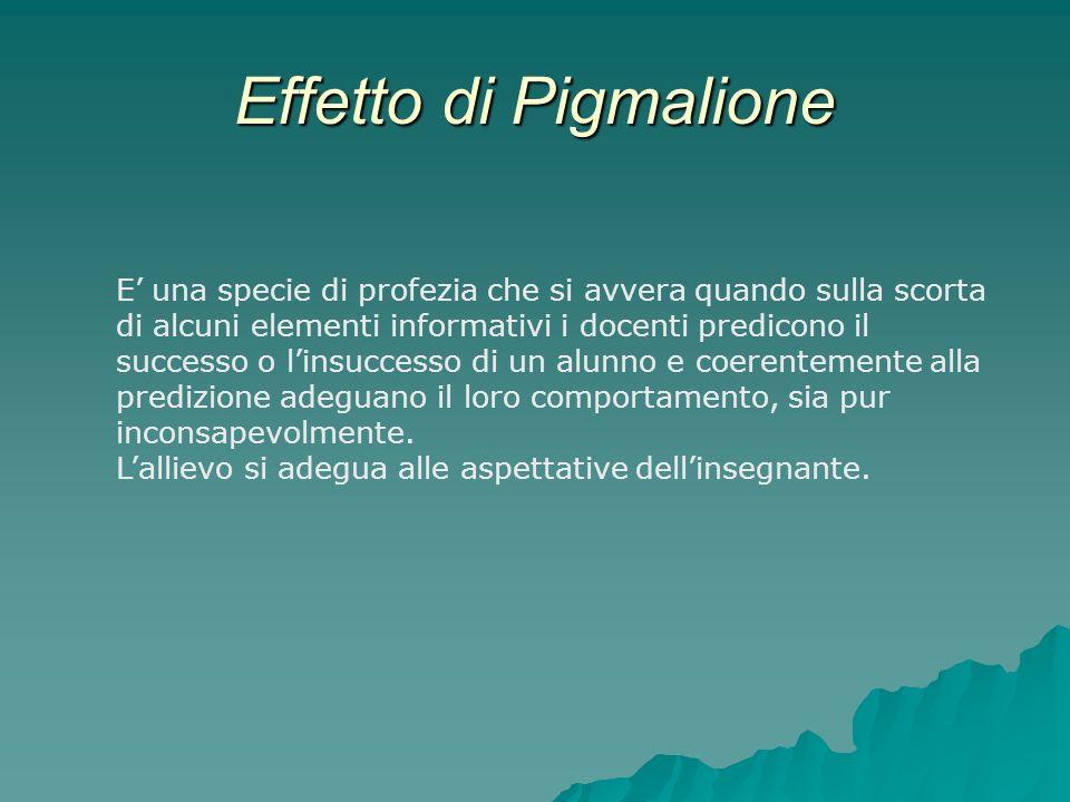 Effetto di Pigmalione E una specie di profezia che si avvera quando sulla scorta di alcuni elementi informativi i docenti predicono il successo o lins