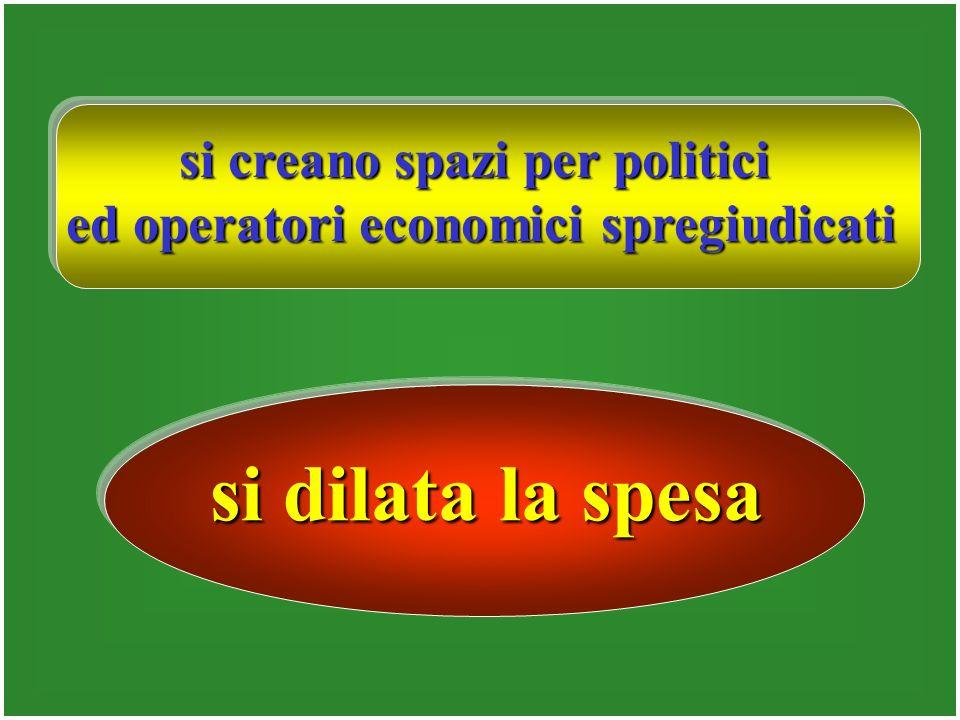 si creano spazi per politici ed operatori economici spregiudicati si dilata la spesa