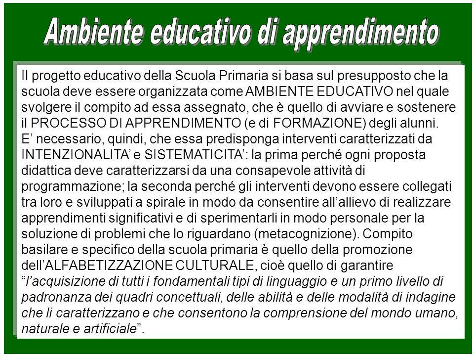 Il progetto educativo della Scuola Primaria si basa sul presupposto che la scuola deve essere organizzata come AMBIENTE EDUCATIVO nel quale svolgere il compito ad essa assegnato, che è quello di avviare e sostenere il PROCESSO DI APPRENDIMENTO (e di FORMAZIONE) degli alunni.