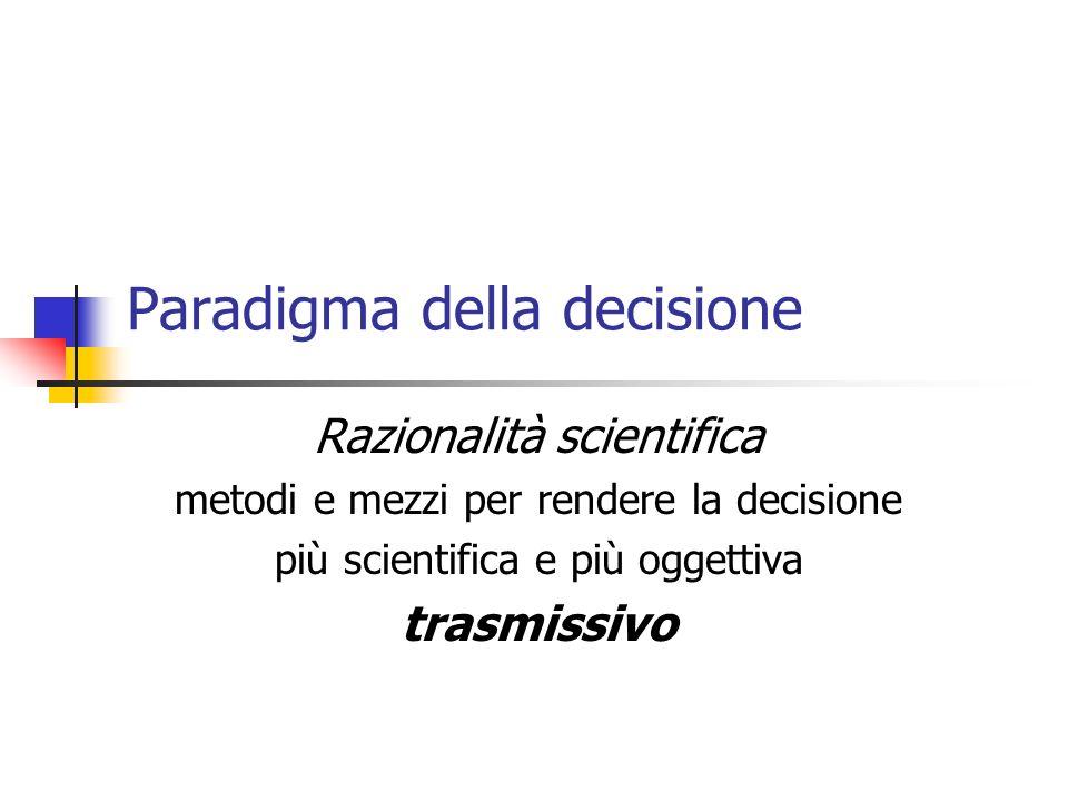 Paradigma della decisione Razionalità scientifica metodi e mezzi per rendere la decisione più scientifica e più oggettiva trasmissivo