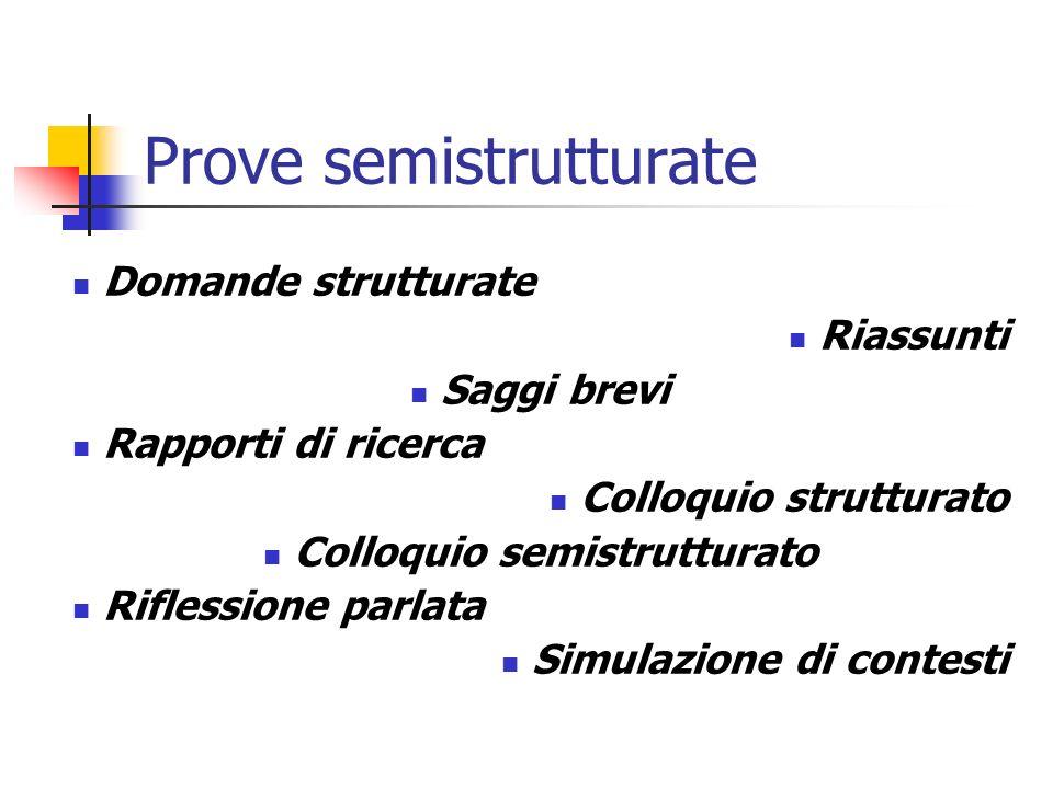 Prove semistrutturate Domande strutturate Riassunti Saggi brevi Rapporti di ricerca Colloquio strutturato Colloquio semistrutturato Riflessione parlat