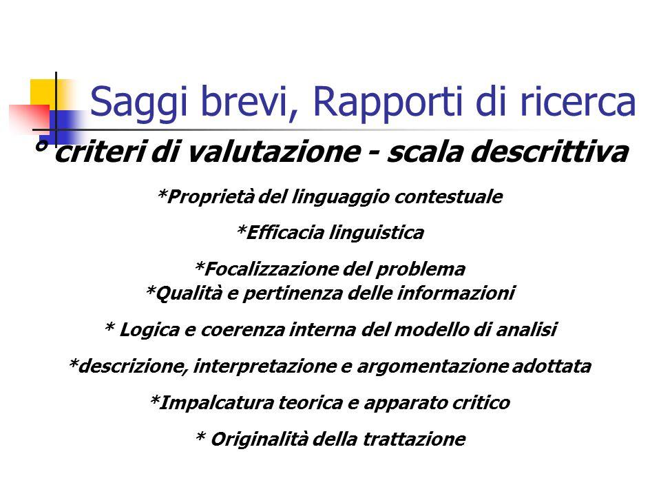 Saggi brevi, Rapporti di ricerca ° criteri di valutazione - scala descrittiva *Proprietà del linguaggio contestuale *Efficacia linguistica *Focalizzaz
