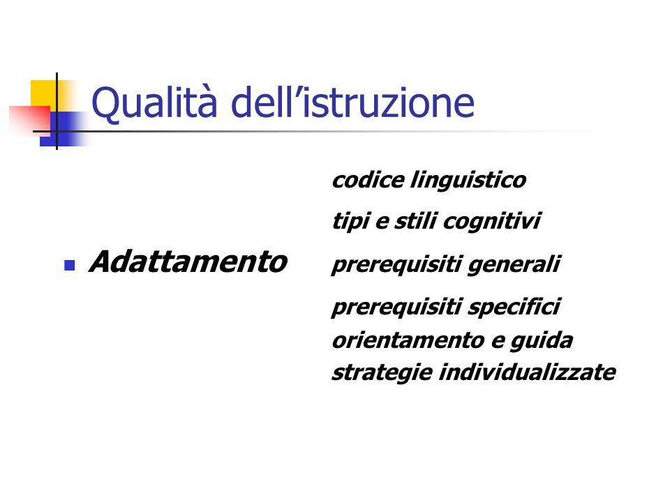 Qualità dellistruzione codice linguistico tipi e stili cognitivi Adattamento prerequisiti generali prerequisiti specifici orientamento e guida strategie individualizzate