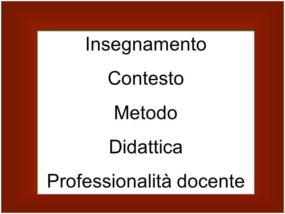 Insegnamento Contesto Metodo Didattica Professionalità docente Insegnamento Contesto Metodo Didattica Professionalità docente