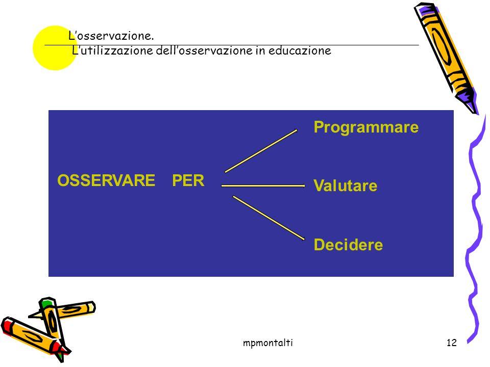 mpmontalti12 OSSERVARE PER Programmare Valutare Decidere Losservazione.