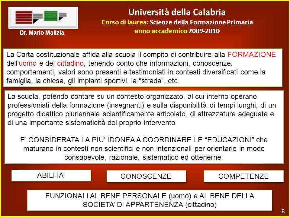 Università della Calabria Corso di laurea: Scienze della Formazione Primaria anno accademico 2009-2010 8 Dr.