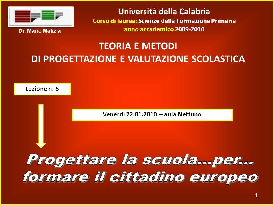 Università della Calabria Corso di laurea: Scienze della Formazione Primaria anno accademico 2009-2010 1 Dr. Mario Malizia TEORIA E METODI DI PROGETTA