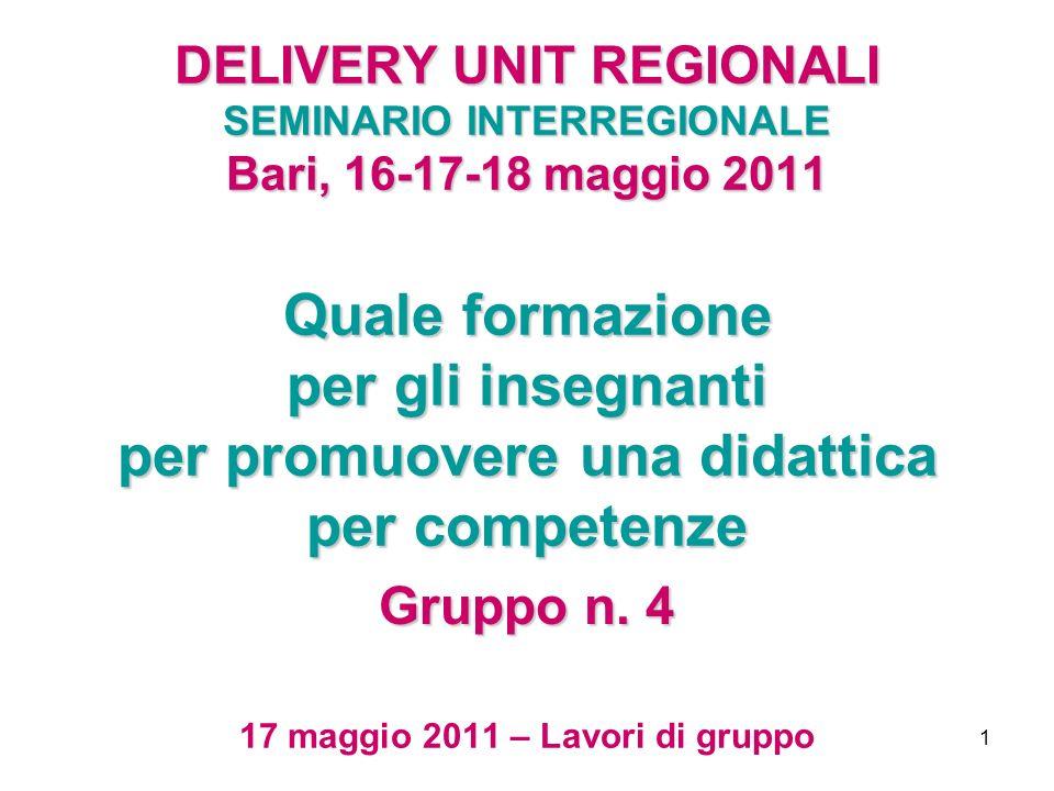 1 DELIVERY UNIT REGIONALI SEMINARIO INTERREGIONALE Bari, 16-17-18 maggio 2011 Quale formazione per gli insegnanti per promuovere una didattica per competenze DELIVERY UNIT REGIONALI SEMINARIO INTERREGIONALE Bari, 16-17-18 maggio 2011 Quale formazione per gli insegnanti per promuovere una didattica per competenze 17 maggio 2011 – Lavori di gruppo Gruppo n.