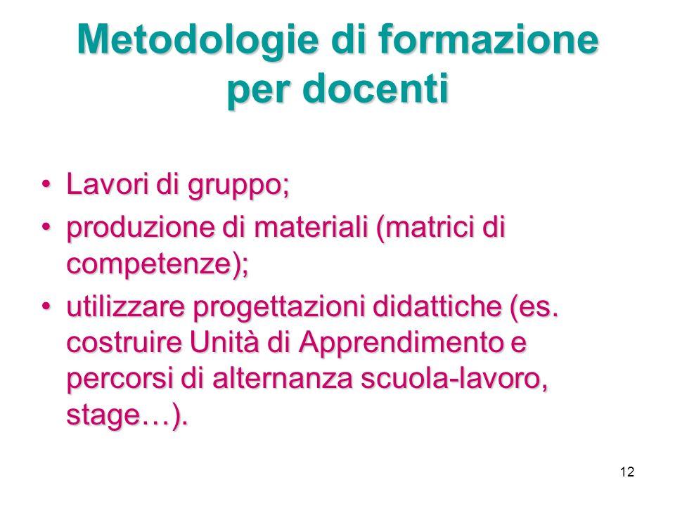 12 Metodologie di formazione per docenti Lavori di gruppo;Lavori di gruppo; produzione di materiali (matrici di competenze);produzione di materiali (m