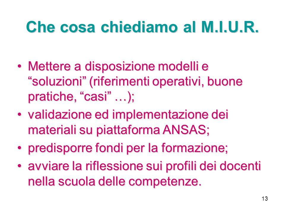 13 Che cosa chiediamo al M.I.U.R. Mettere a disposizione modelli e soluzioni (riferimenti operativi, buone pratiche, casi …);Mettere a disposizione mo