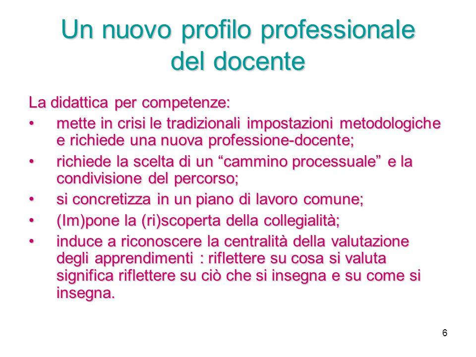 6 Un nuovo profilo professionale del docente La didattica per competenze: mette in crisi le tradizionali impostazioni metodologiche e richiede una nuo