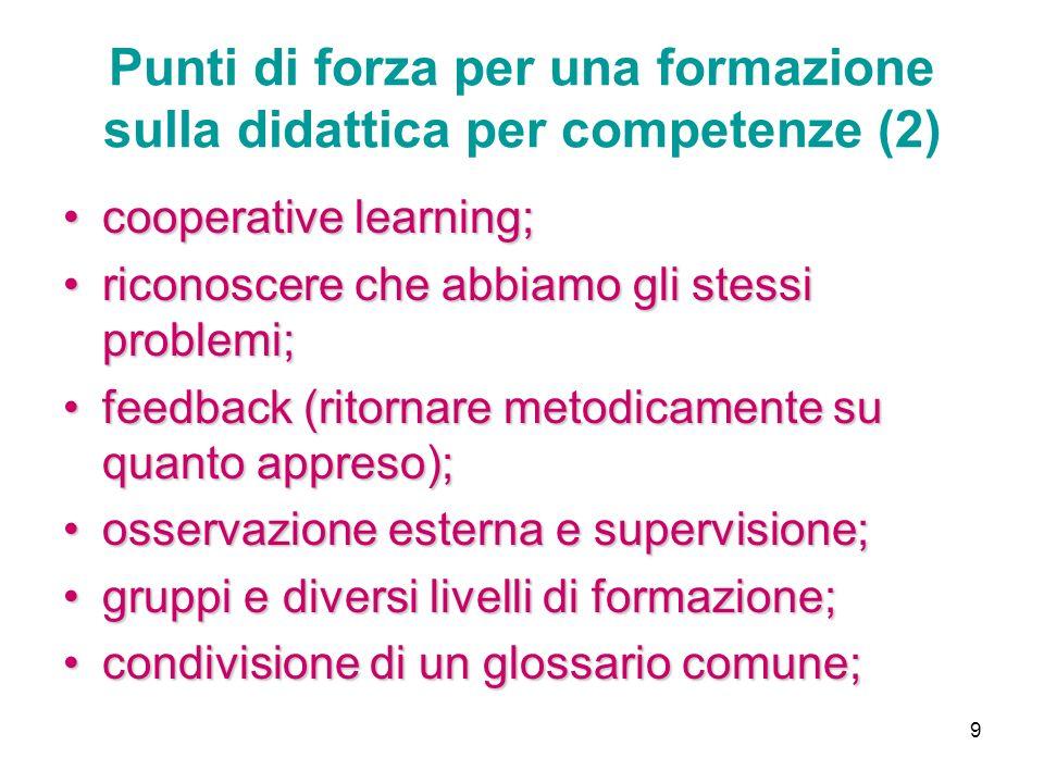 9 Punti di forza per una formazione sulla didattica per competenze (2) cooperative learning;cooperative learning; riconoscere che abbiamo gli stessi p