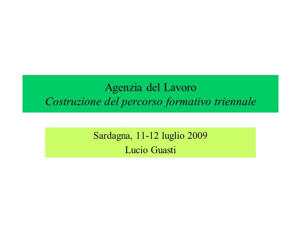 Agenzia del Lavoro Costruzione del percorso formativo triennale Sardagna, 11-12 luglio 2009 Lucio Guasti