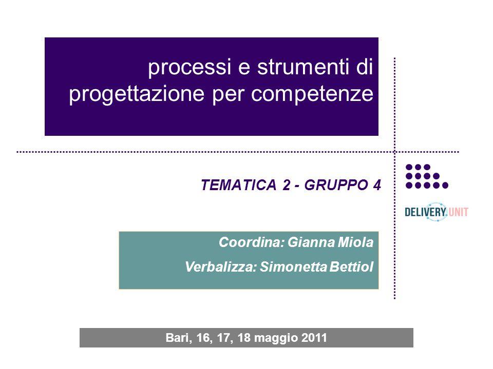 processi e strumenti di progettazione per competenze TEMATICA 2 - GRUPPO 4 Coordina: Gianna Miola Verbalizza: Simonetta Bettiol Bari, 16, 17, 18 maggio 2011