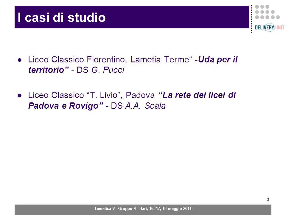 Tematica 2 - Gruppo 4 - Bari, 16, 17, 18 maggio 2011 3 I casi di studio Liceo Classico Fiorentino, Lametia Terme -Uda per il territorio - DS G.