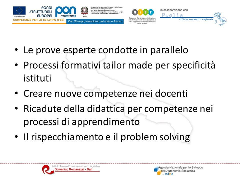 Le prove esperte condotte in parallelo Processi formativi tailor made per specificità istituti Creare nuove competenze nei docenti Ricadute della didattica per competenze nei processi di apprendimento Il rispecchiamento e il problem solving