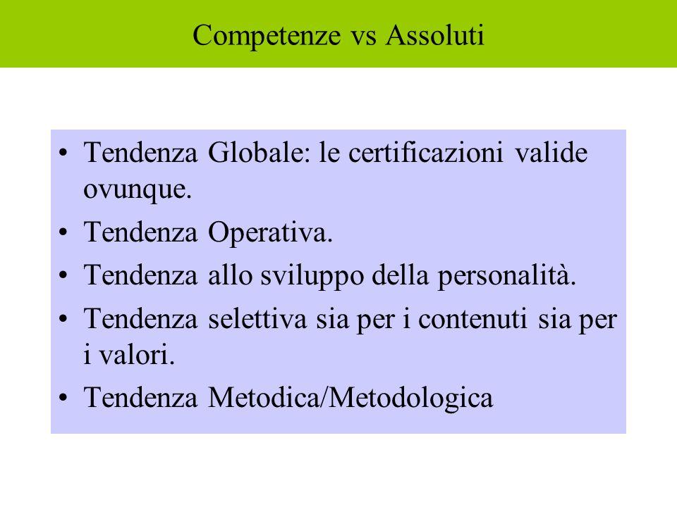Competenze vs Assoluti Tendenza Globale: le certificazioni valide ovunque. Tendenza Operativa. Tendenza allo sviluppo della personalità. Tendenza sele