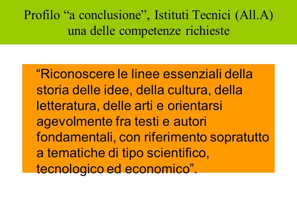Profilo a conclusione, Istituti Tecnici (All.A) una delle competenze richieste Riconoscere le linee essenziali della storia delle idee, della cultura,