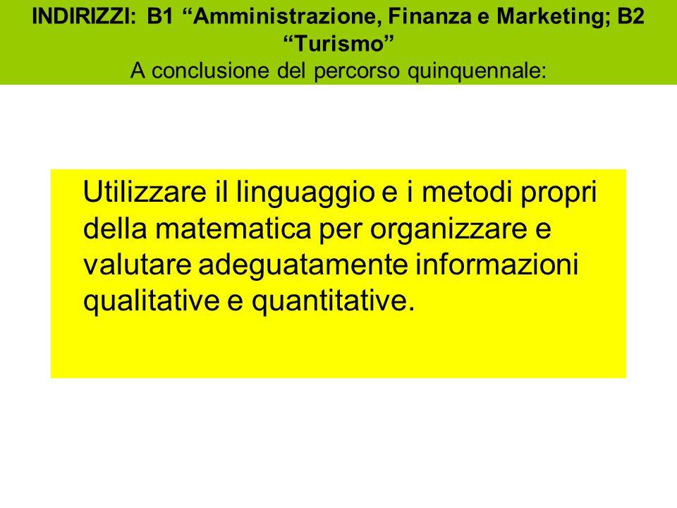 INDIRIZZI: B1 Amministrazione, Finanza e Marketing; B2 Turismo A conclusione del percorso quinquennale: Utilizzare il linguaggio e i metodi propri della matematica per organizzare e valutare adeguatamente informazioni qualitative e quantitative.