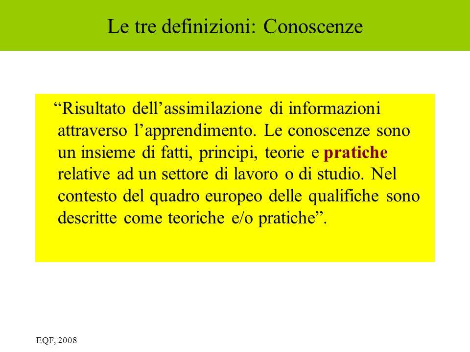 Le tre definizioni: Conoscenze Risultato dellassimilazione di informazioni attraverso lapprendimento. Le conoscenze sono un insieme di fatti, principi