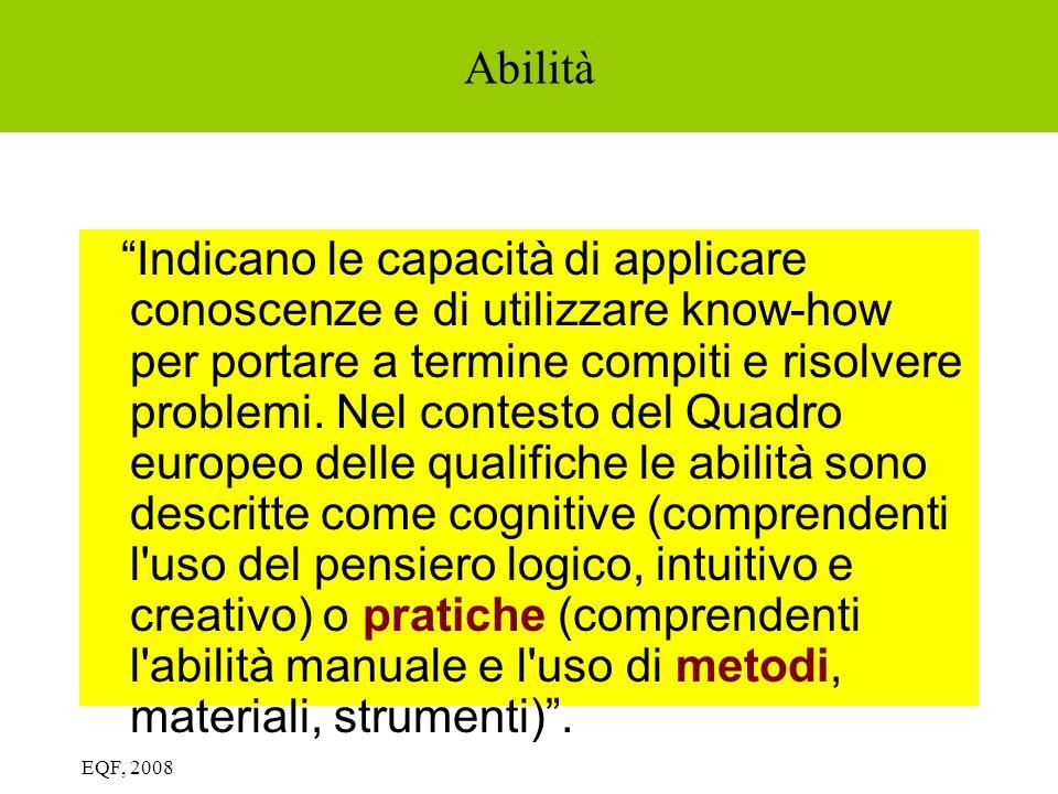 Abilità Indicano le capacità di applicare conoscenze e di utilizzare know-how per portare a termine compiti e risolvere problemi. Nel contesto del Qua