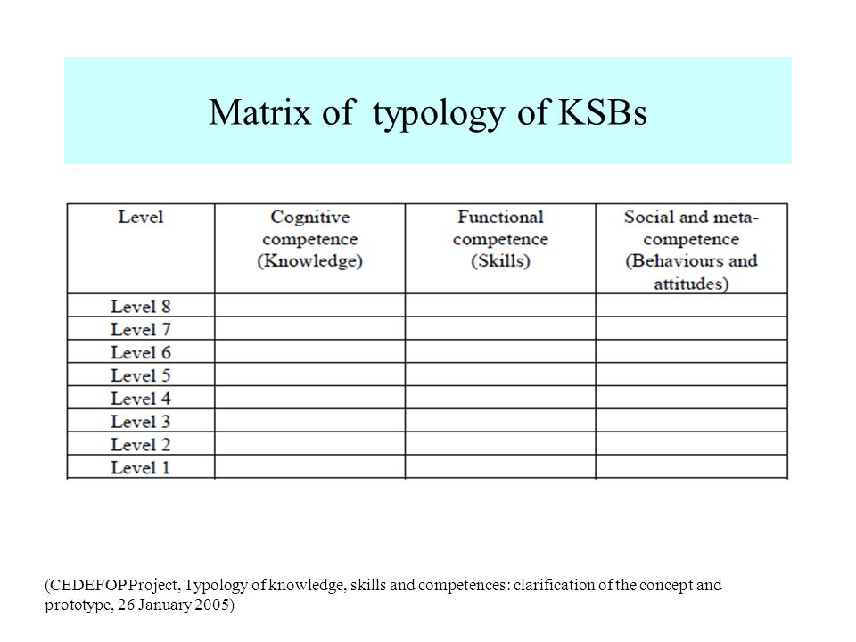 Matrix of typology of KSBs (CEDEFOP Project, Typology of knowledge, skills and competences: clarification of the concept and prototype, 26 January 200
