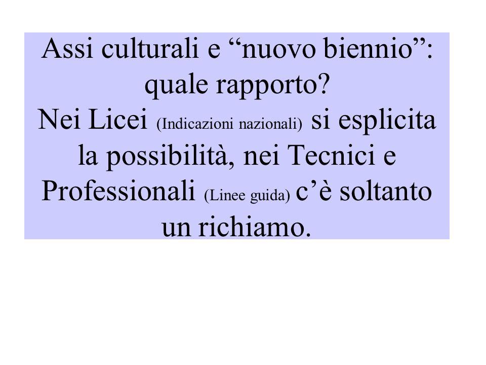 Assi culturali e nuovo biennio: quale rapporto? Nei Licei (Indicazioni nazionali) si esplicita la possibilità, nei Tecnici e Professionali (Linee guid