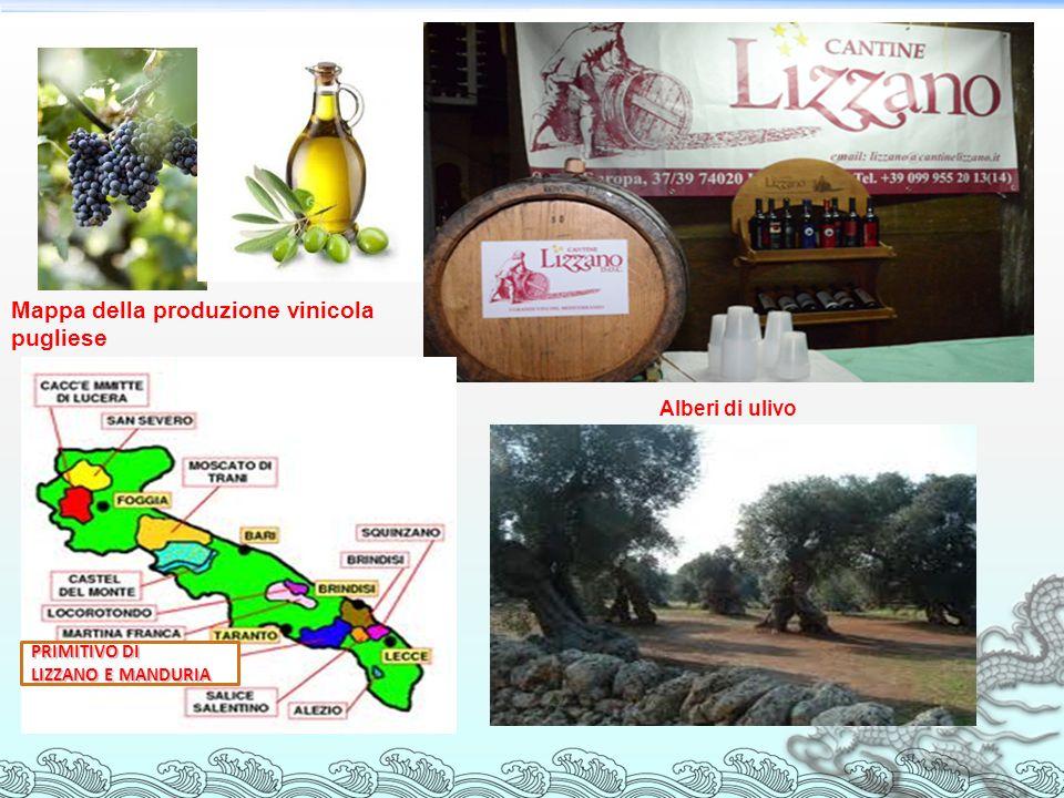Mappa della produzione vinicola pugliese PRIMITIVO DI LIZZANO E MANDURIA Alberi di ulivo