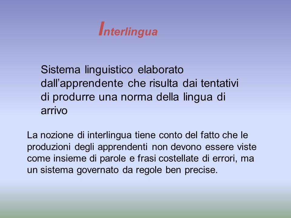 I nterlingua Sistema linguistico elaborato dallapprendente che risulta dai tentativi di produrre una norma della lingua di arrivo La nozione di interl