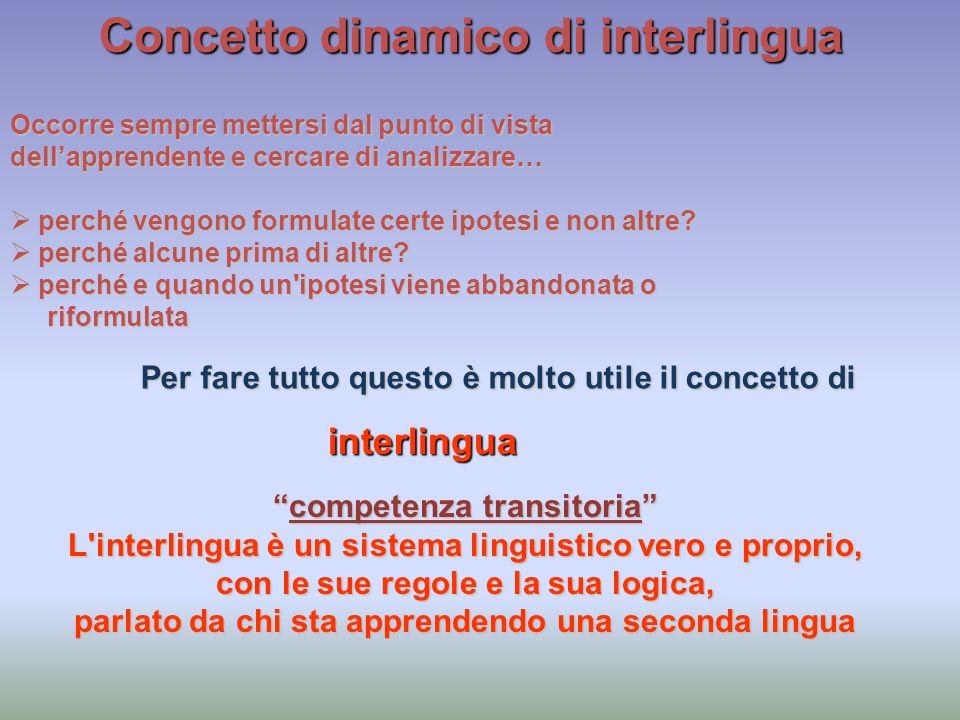 Concetto dinamico di interlingua Occorre sempre mettersi dal punto di vista dellapprendente e cercare di analizzare… perché vengono formulate certe ip