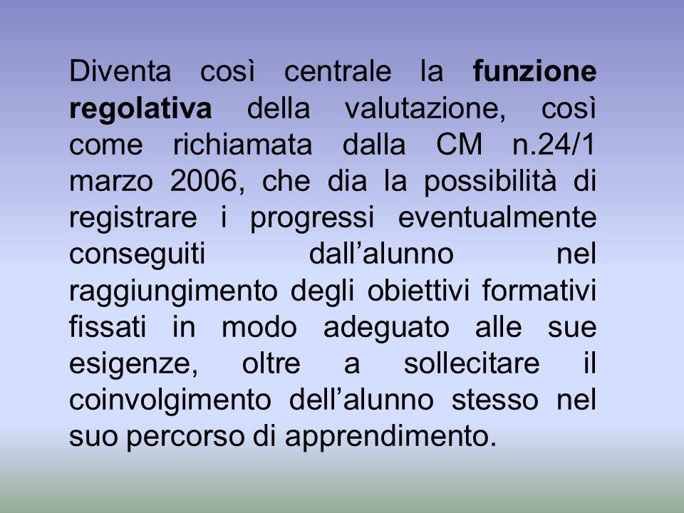 Diventa così centrale la funzione regolativa della valutazione, così come richiamata dalla CM n.24/1 marzo 2006, che dia la possibilità di registrare