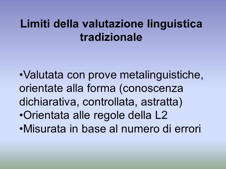 Limiti della valutazione linguistica tradizionale Valutata con prove metalinguistiche, orientate alla forma (conoscenza dichiarativa, controllata, ast
