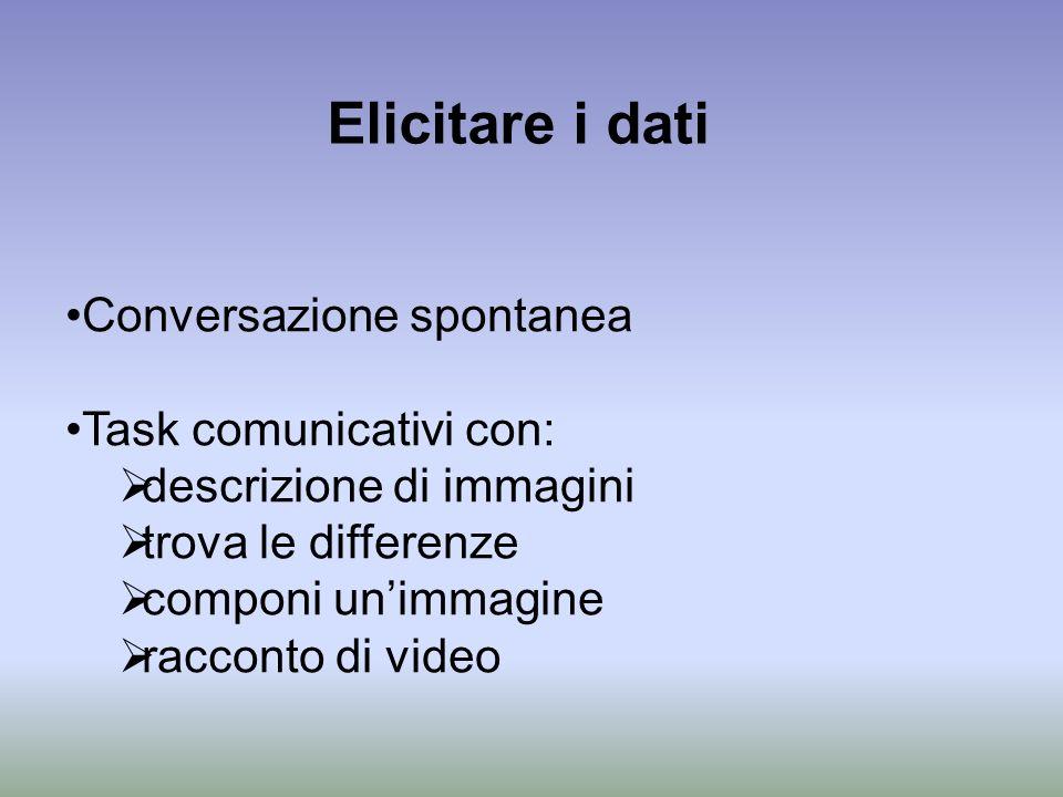 Elicitare i dati Conversazione spontanea Task comunicativi con: descrizione di immagini trova le differenze componi unimmagine racconto di video