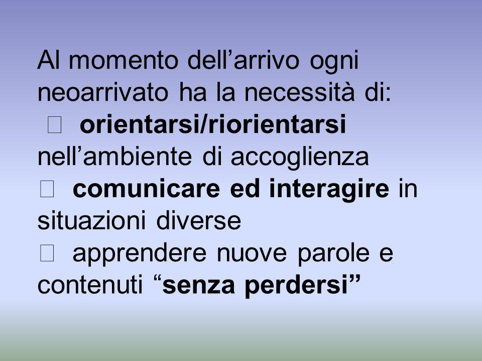 Al momento dellarrivo ogni neoarrivato ha la necessità di: orientarsi/riorientarsi nellambiente di accoglienza comunicare ed interagire in situazioni