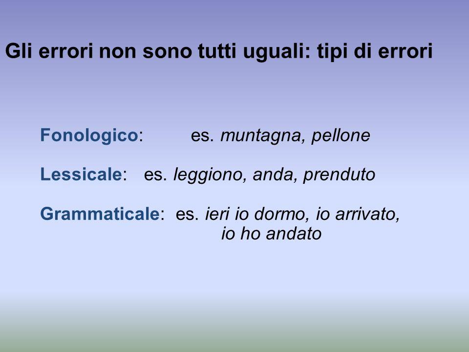 Gli errori non sono tutti uguali: tipi di errori Fonologico: es. muntagna, pellone Lessicale: es. leggiono, anda, prenduto Grammaticale: es. ieri io d