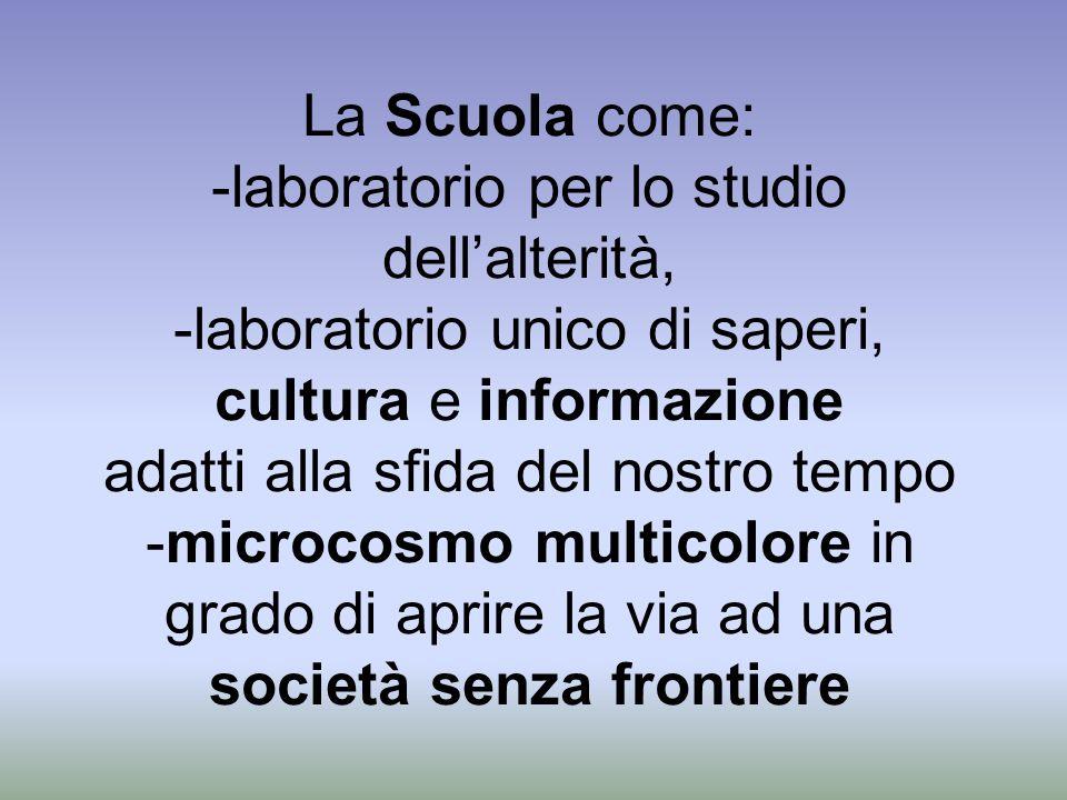 La Scuola come: -laboratorio per lo studio dellalterità, -laboratorio unico di saperi, cultura e informazione adatti alla sfida del nostro tempo -micr