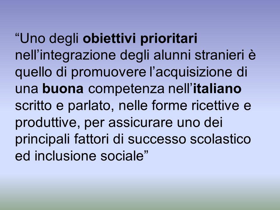 Uno degli obiettivi prioritari nellintegrazione degli alunni stranieri è quello di promuovere lacquisizione di una buona competenza nellitaliano scrit